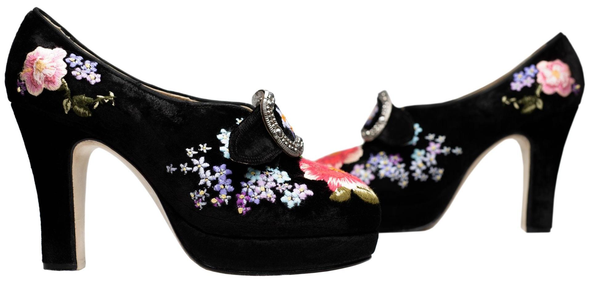 Black velvet embroidered shoes by caroline groves eyestylist