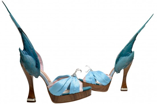 Parakeet wing silk peep toe sandals, Caroline Groves