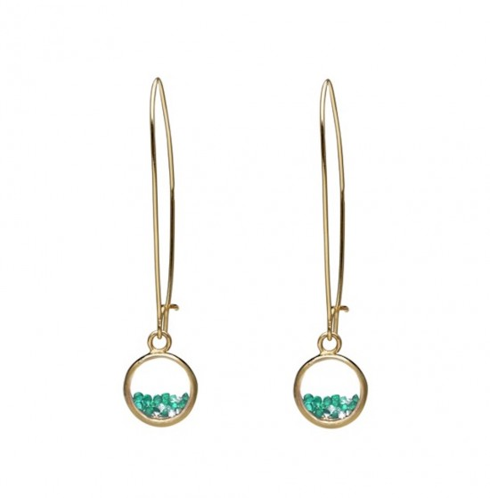 18K Gold earrings with Colombian Emeralds and Diamonds in a Sapphire glass medallion by CVS
